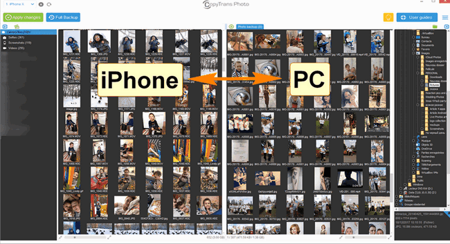 Live Photos will appear on the left and PC photos on the right