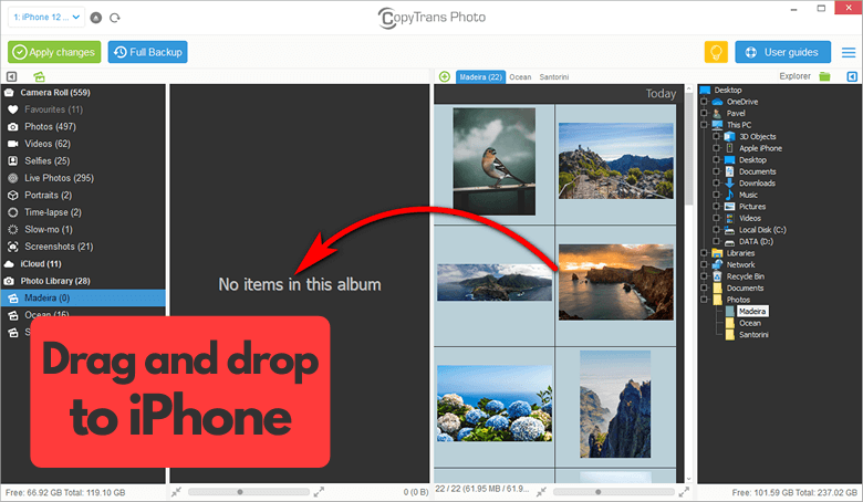 Drag and drop photos from PC to iPhone using CopyTrans Photo