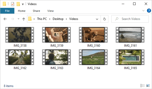 iPhone videos in the Videos folder in Windows Explorer