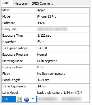 EXIF data window