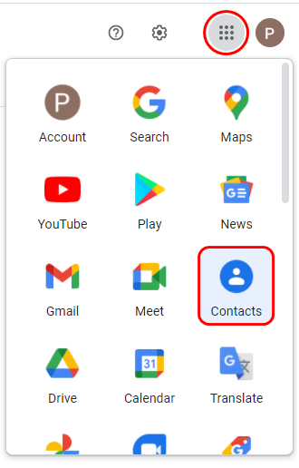 Log in to Google and navigate to your Google contacts