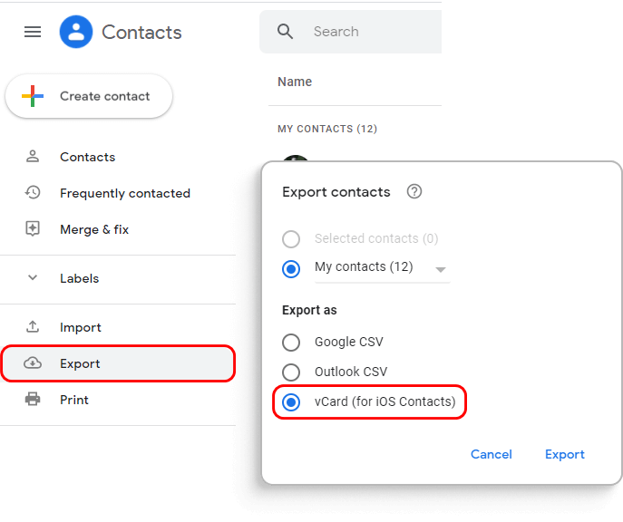 Export Google Contacts to PC