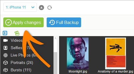 Apply changes and change the key photo in Phone photo album