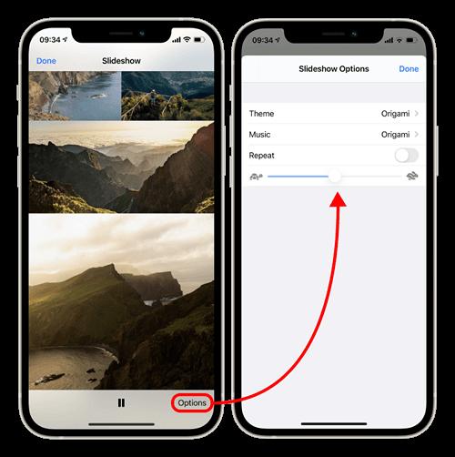 iPhone slideshow and settings