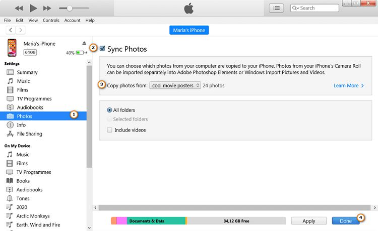 step-by-step guide on importing photos to iPhone with iTunes