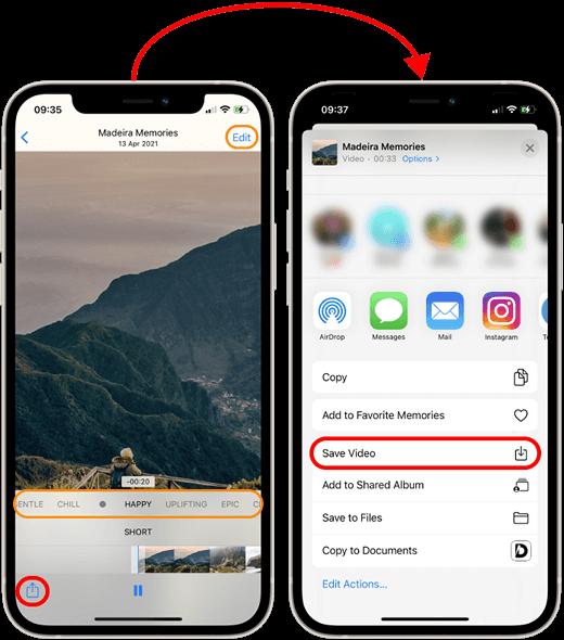 Phone saving photo memory as a video