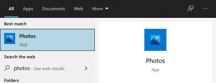 Windows Photos app in Windows Start menu