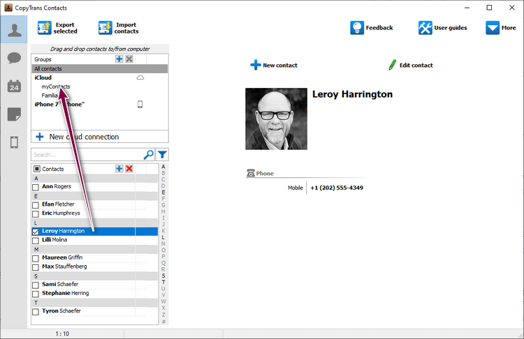 Add contact to a new group of contacts