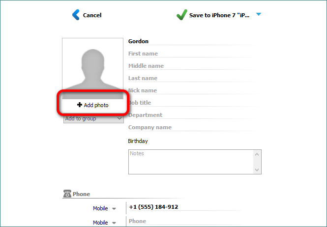 Add photo to a contact with CopyTrans Contacts