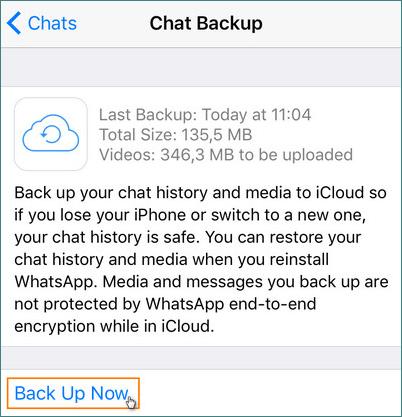 How to backup WhatsApp on iCloud