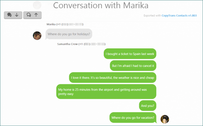 Conversation WhatsApp in web format