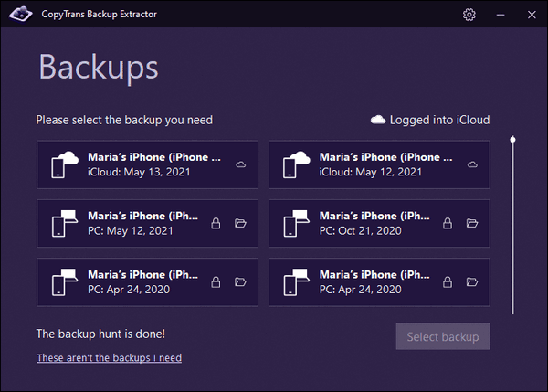 List of backups in CopyTrans Backup Extractor interface