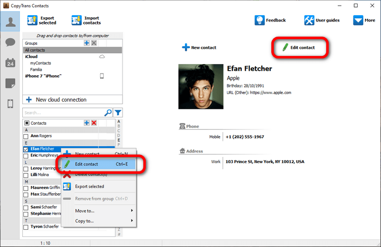 Edit contacts with CopyTrans Contacts