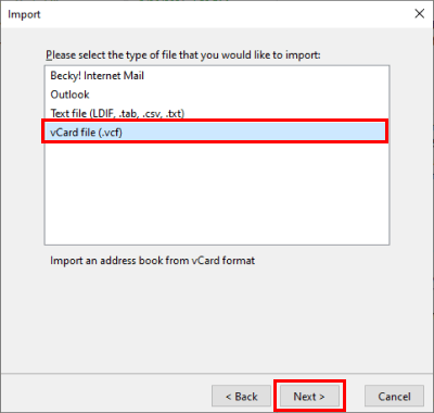 Selecting vCard file format