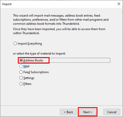 How to import contacts into Thunderbird