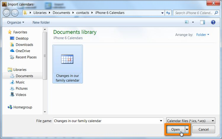 Select your outlook calendar and click Open