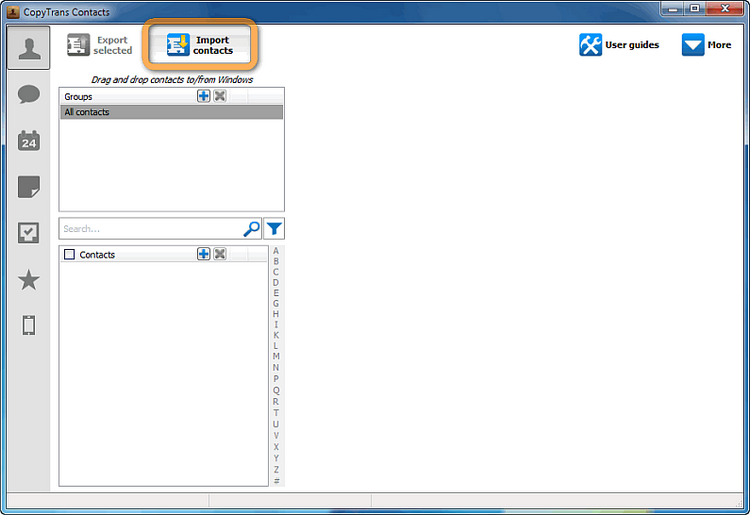 main copytrans contacts window with import contacts button selected