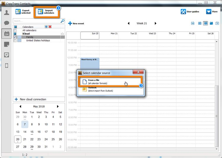 import calendar from a file
