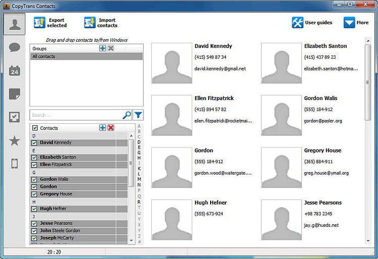 main copytrans contacts window with imported excel contacts