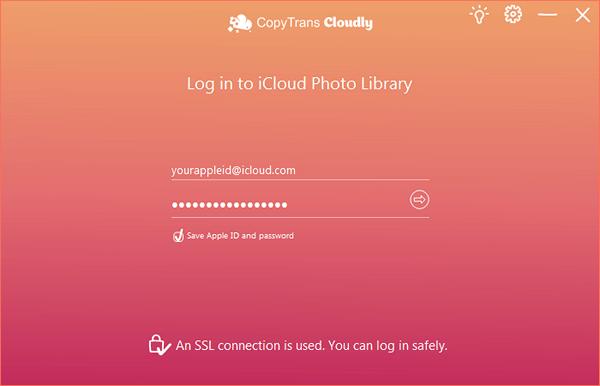 CopyTrans Cloudly iCloud login interface