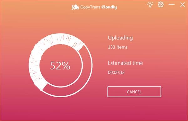 CopyTrans Cloudly uploading process