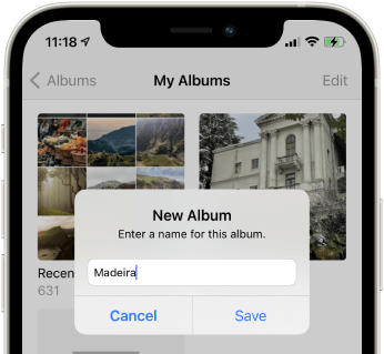 Creating an album in iPhone Photos application