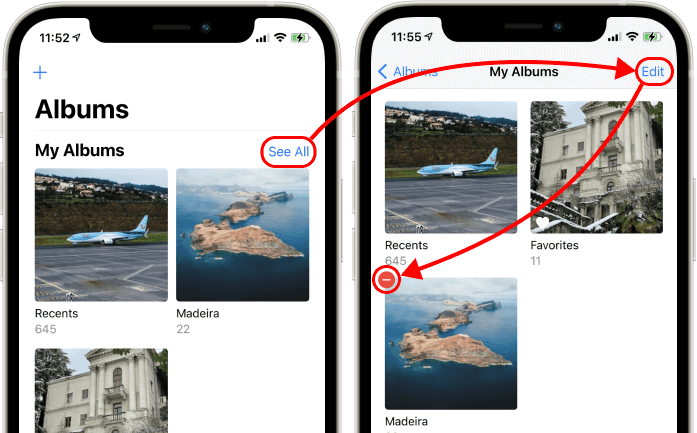 Deleting an album in iPhone Photos application