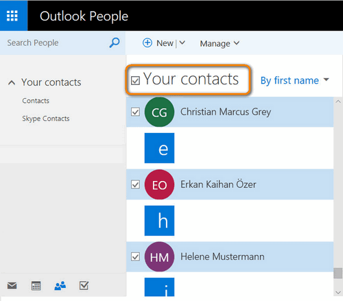 Contacts imported to Outlook from iPhone