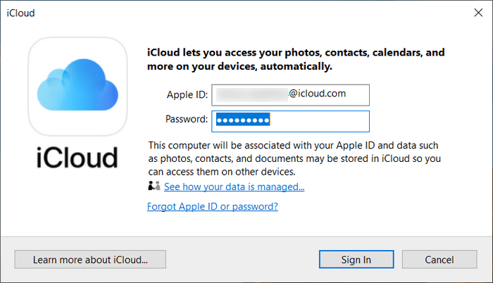 Log in to iCloud for Windows