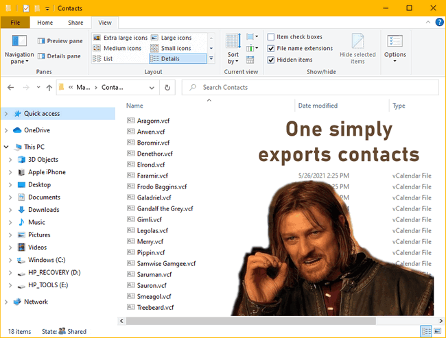 Downloaded contacts from iPhone on PC