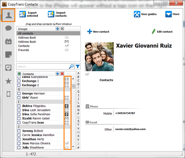 Manage iCloud, Gmail contacts with CopyTrans Contacts