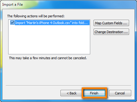 Import CSV to Outlook click finish