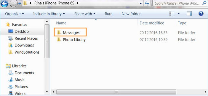 Select folder to backup WhatsApp Chat