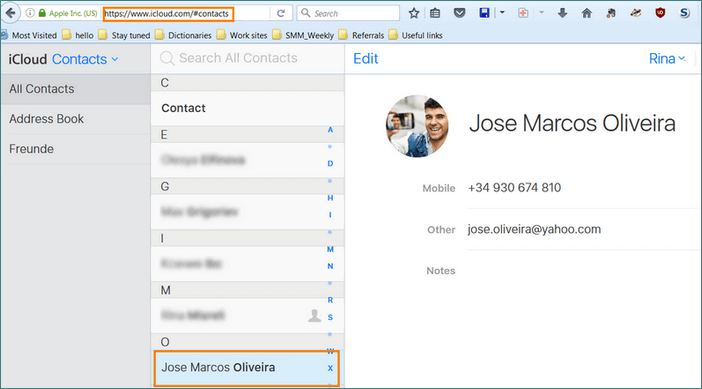 See your contacts in a cloud account