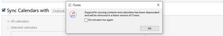 support for syncing contacts and calendars has been deprecated