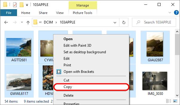 Copying iPhone videos using Windows Explorer