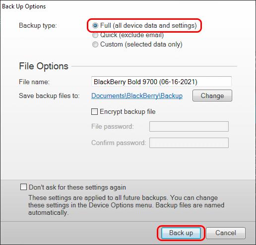 BlackBerry backup options