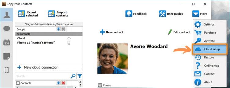 Add cloud accounts to CopyTrans Contacts