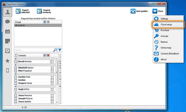 Cloud setup in CopyTrans Contacts
