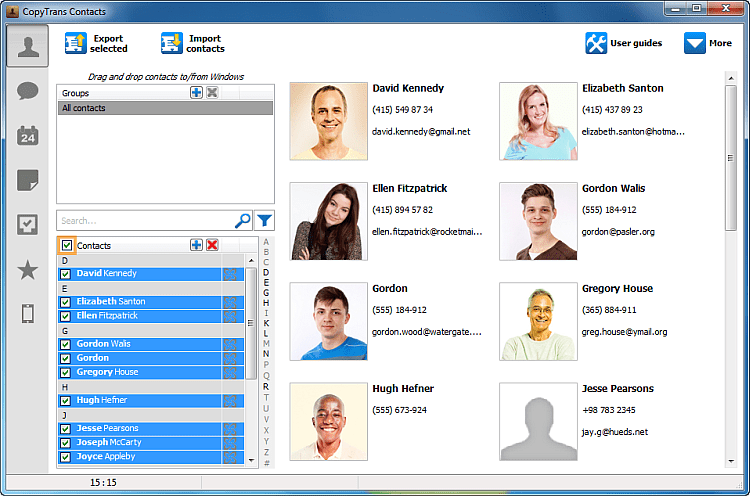 Exchange contacts selected in the main program window