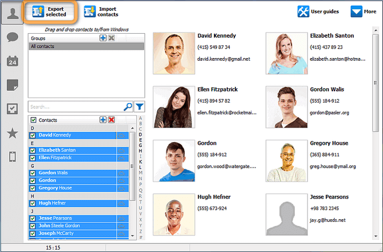 Export selected cloud contacts button