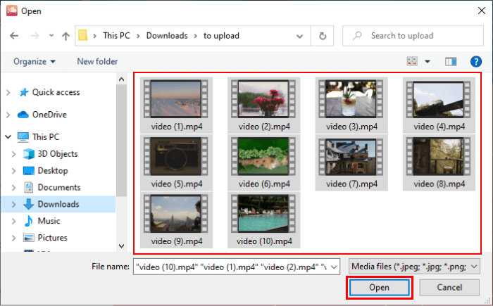 Selecting videos for uploading to iCloud