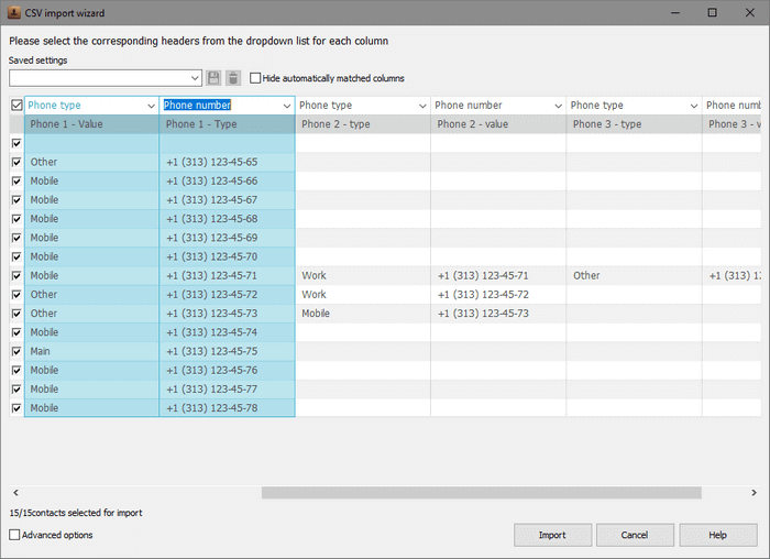 Matched columns in CopyTrans Contacts import wizard