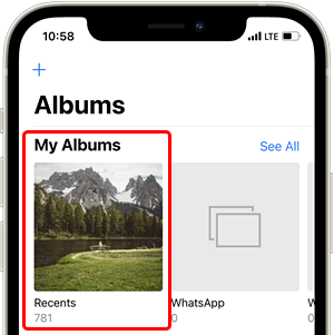 Recents album in the iPhone Photos app