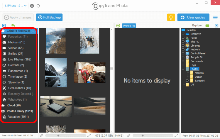 iPhone photo album selection in CopyTrans Photo