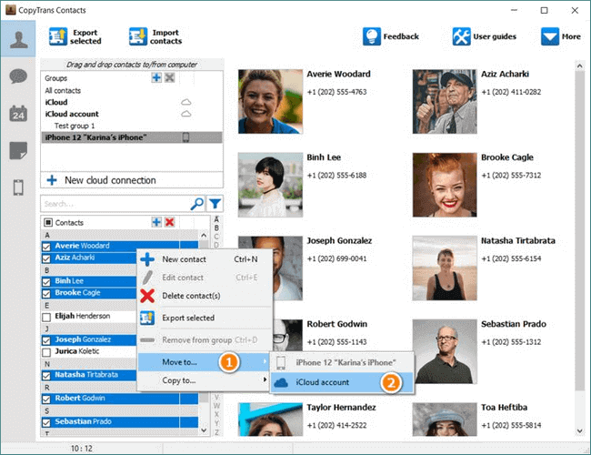 Use CopyTrans Contacts to move local contacts to icloud