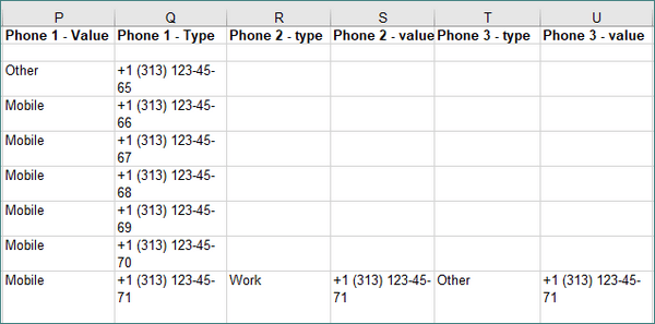 Phone numbers listed in excel file