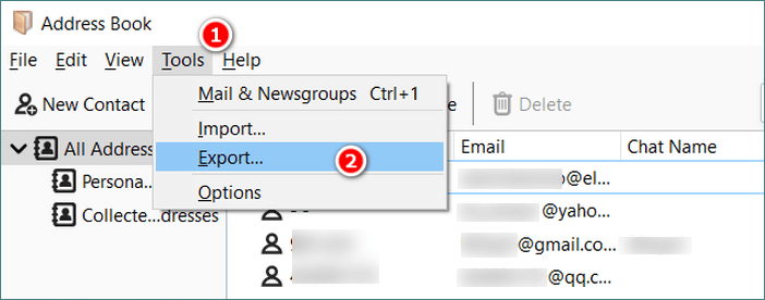 Export contacts from Thunderbird Address Book