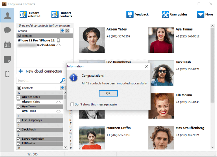 Windows Contacts transferred to iPhone with CopyTrans Contacts