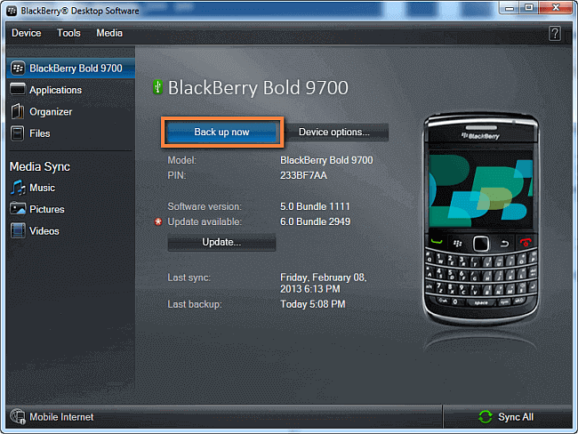 Back up Blackberry phone on your PC